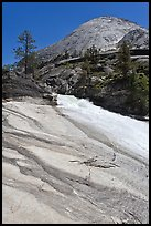 Granite slab, Merced River, and dome. Yosemite National Park, California, USA. (color)