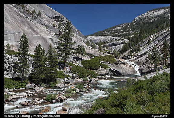 River flowing in smooth granite canyon. Yosemite National Park (color)