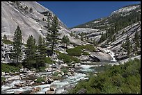 River flowing in smooth granite canyon. Yosemite National Park, California, USA. (color)