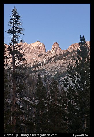 Spires of Matthews Crest at dusk. Yosemite National Park (color)
