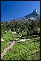 John Muir Trail and backpackers under Tressider Peak. Yosemite National Park ( color)