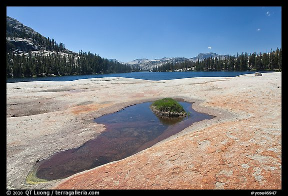 Colorful slab, pothole, and lower Cathedral Lake. Yosemite National Park (color)