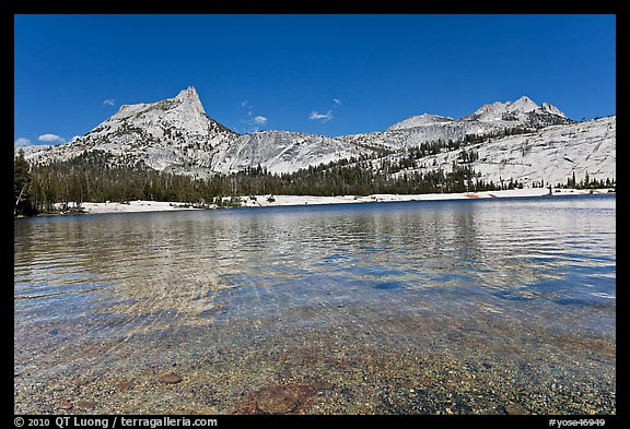 Lower Cathedral Lake and Cathedral range. Yosemite National Park (color)