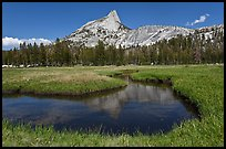 Cathedral Peak reflected in meandering stream. Yosemite National Park ( color)