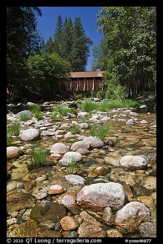 Pebbles in river and covered bridge, Wawona. Yosemite National Park (color)