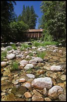 Pebbles in river and covered bridge, Wawona. Yosemite National Park ( color)