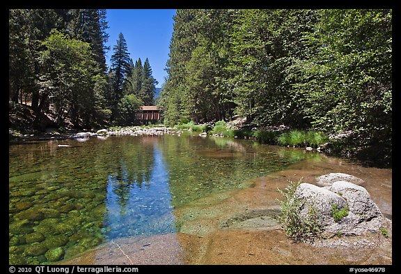 Wawona covered bridge and river. Yosemite National Park (color)