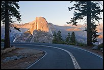 Road and Half-Dome. Yosemite National Park, California, USA. (color)