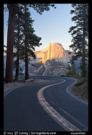 Half-Dome and Glacier Point Road. Yosemite National Park (color)