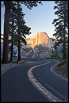 Half-Dome and Glacier Point Road. Yosemite National Park, California, USA. (color)