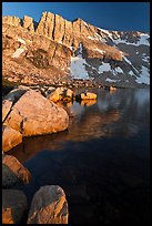North Peak, Boulders and Upper McCabe Lake, sunset. Yosemite National Park ( color)