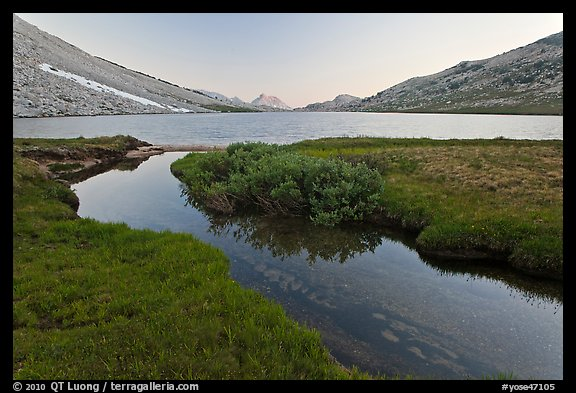 Stream and Roosevelt Lake at sunset. Yosemite National Park (color)