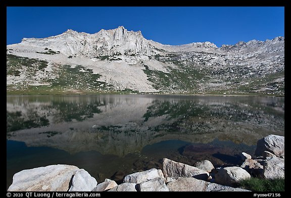 Rugged mountain reflected in Sierra Lake. Yosemite National Park (color)