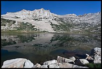 Rugged mountain reflected in Sierra Lake. Yosemite National Park, California, USA. (color)