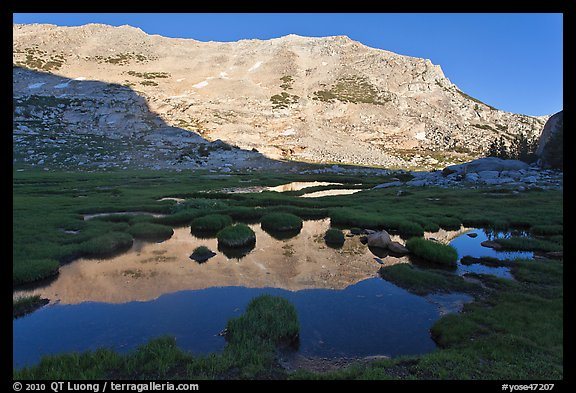 White mountain crest reflected in tarns. Yosemite National Park (color)