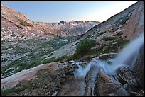Waterfall and alpine valley at sunset. Yosemite National Park ( color)