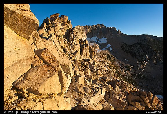 Rocky slopes and Mount Conness, sunrise. Yosemite National Park (color)