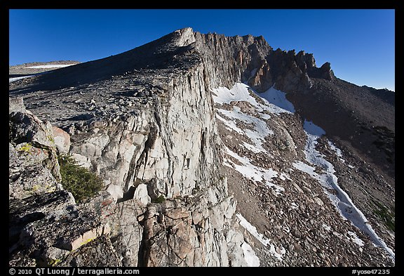 Steep rock walls, Mount Conness. Yosemite National Park (color)