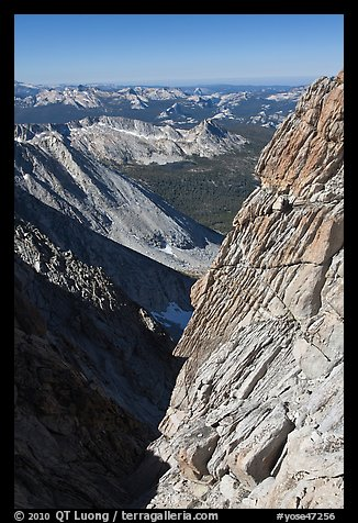 Cliff and distant mountains below the summit of Mount Conness. Yosemite National Park (color)