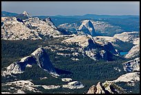 Aerial view of Fairview Dome and Half-Dome from Mount Conness. Yosemite National Park, California, USA. (color)
