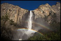 Bridalveil Fall with double rainbow. Yosemite National Park, California, USA. (color)