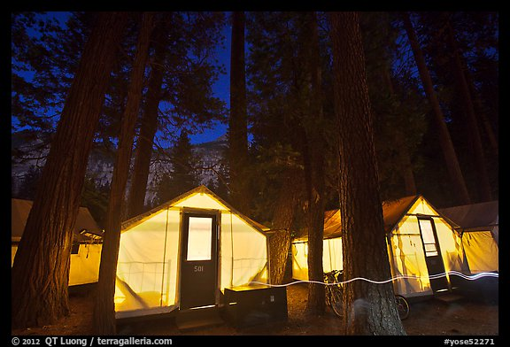 Curry Village tents by night. Yosemite National Park (color)