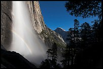 Double spray lunar rainbow, Upper Yosemite Falls and Half-Dome. Yosemite National Park, California, USA.
