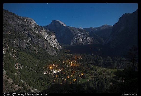 Yosemite Village lights and Half-Dome by moonlight. Yosemite National Park (color)