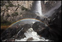 Afternoon rainbow, Bridalveil Fall. Yosemite National Park, California, USA. (color)