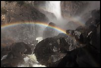 Rainbows in the mist of Bridalveil Fall. Yosemite National Park, California, USA. (color)