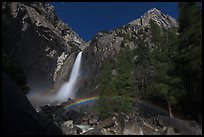Lunar rainbow, Lower Yosemite Fall. Yosemite National Park, California, USA. (color)
