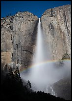 Space rainbow in Upper Yosemite Fall spray. Yosemite National Park, California, USA.