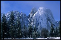 Cathedral rocks after a snow storm, morning. Yosemite National Park, California, USA. (color)