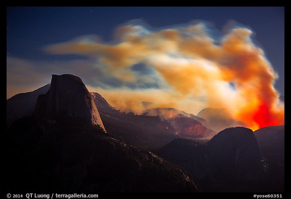 Half-Dome, fire and smoke at night. Yosemite National Park (color)