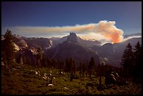 Half-Dome and plume of smoke from forest fire at night. Yosemite National Park ( color)