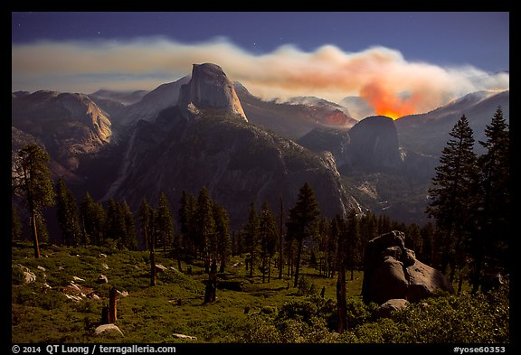 Half-Dome and plume of smoke from wildfire at night. Yosemite National Park (color)