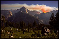 Half-Dome and plume of smoke from wildfire at night. Yosemite National Park ( color)