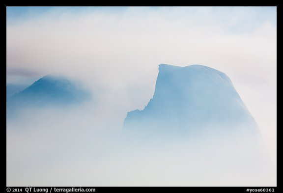 Half-Dome and Clouds Rest in smoke cloud. Yosemite National Park (color)