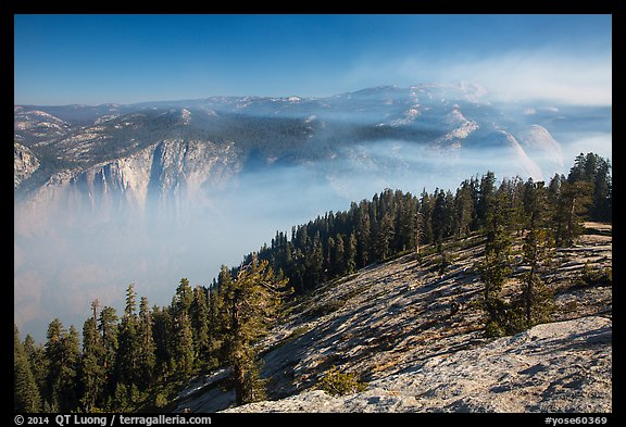 View from Sentinel Dome over fog-filed Valley. Yosemite National Park (color)