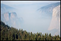 Smoky Yosemite Valley framed by Cathedral Rocks and El Capitan. Yosemite National Park ( color)