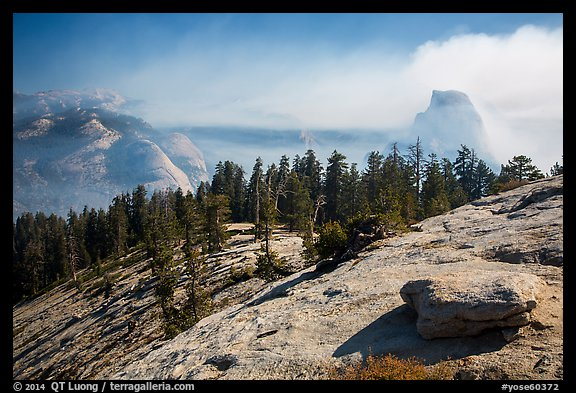 Foggy valley and Half-Dome from Sentinel Dome. Yosemite National Park (color)