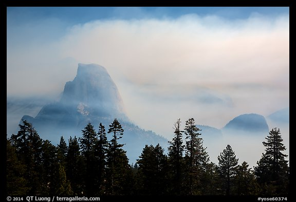Half-Dome, clearing smoke. Yosemite National Park (color)