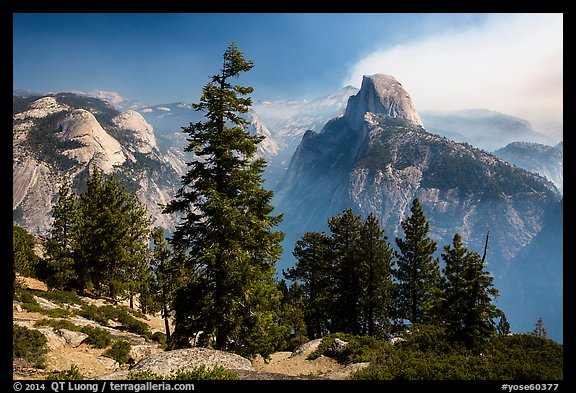 Half Dome from Glacier Point, smoke clearing. Yosemite National Park (color)