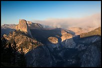 Half-Dome and forest fire from Washburn Point, late afternoon. Yosemite National Park ( color)