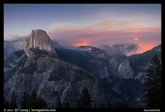 Half-Dome, forest fire, and moon rising. Yosemite National Park (color)