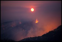 Forest fire and moon. Yosemite National Park ( color)
