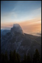 Half-Dome, forest fire, and smoke. Yosemite National Park ( color)