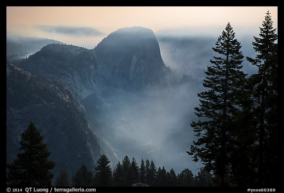 Liberty cap and smoke at night. Yosemite National Park (color)