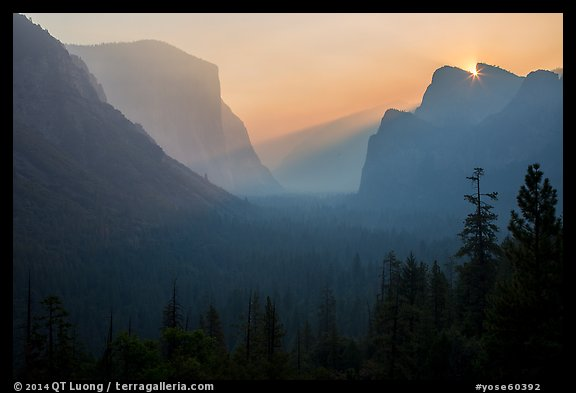 Discovery view with sun rising in notch. Yosemite National Park (color)
