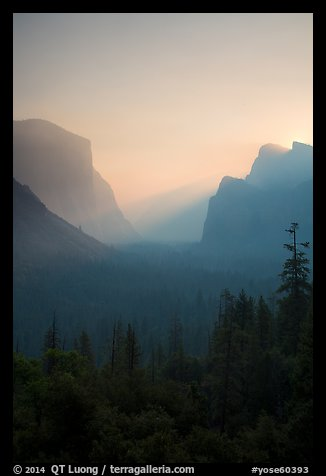 View of smoky Yosemite Valley at sunrise. Yosemite National Park (color)